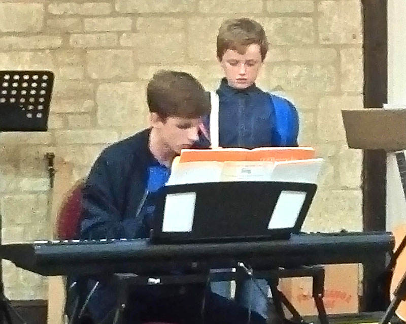 Boys playing at a concert